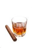 Whisky y cigarro Foto de archivo libre de regalías