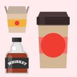 Whiskybourbongetränkweinbrandkaffee zum mitnehmen-Schalen-Vektorillustration des WhiskyFlaschenglas-Alkohols schottische Getränke Stockfotografie
