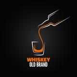 Whiskyglasflaschenschussspritzen-Menühintergrund Stockfoto