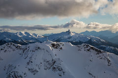 Whisler Mountain View. Whistler Mountain, BC, Canada, from an aerial perspective. Picture taken during a cloudy winter sunset Stock Photos