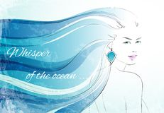 Whisper of the ocean background. With sensual woman with wavy hairs vector illustration vector illustration