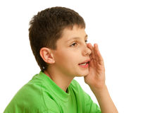 Whispering boy Stock Image
