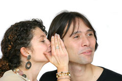 Whispering the latest gossip royalty free stock photos
