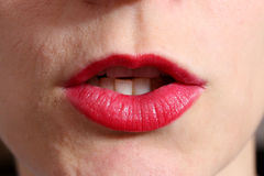 Whispering red lips Stock Photography