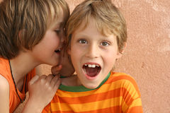 Whispering Secrets. Cheeky children whispering secrets, playing Royalty Free Stock Photography