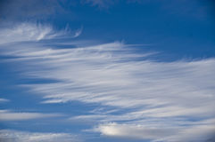 Whispy white clouds in the ocean blue sky Royalty Free Stock Photos