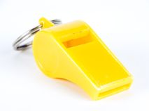 Whistle. A whistle against white background stock photography