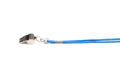 Whistle. Shot of whistle with blue string isolated on white Royalty Free Stock Photos