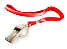 Whistle. Metal Whistle, isolated object on white Royalty Free Stock Image