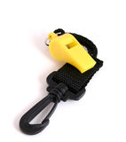 Whistle. Photo of diving whistle with strap Stock Photos