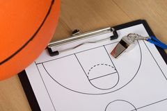 Whistle and basketball tactics on paper Stock Photo