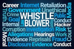 Whistle Blower Word Cloud. On Blue Background stock illustration