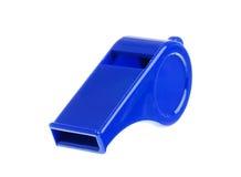 Whistle. A blue whistle on a white background Stock Photos