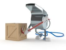 Whistle character with crate. On white background royalty free illustration