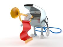 Whistle character playing the trumpet. Isolated on white background royalty free illustration