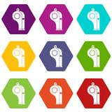 Whistle icon set color hexahedron Royalty Free Stock Image