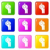 Whistle icons 9 set Royalty Free Stock Photography