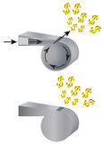 Whistle and money. vector illustration