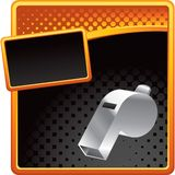 Whistle on orange and black halftone advertisement Stock Photography
