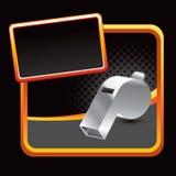 Whistle on orange lined advertisement Stock Photos