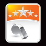 Whistle on orange star background Royalty Free Stock Photo