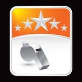 Whistle on orange star background Royalty Free Stock Photo
