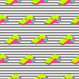 Whistle pattern repeat seamless striped pop art neon colors texture. stock illustration