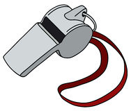 Whistle with a red cord. Hand drawing of a metal whistle with the red cord vector illustration
