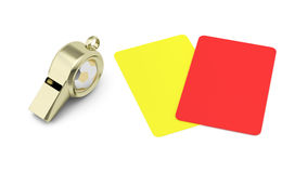 Whistle and red and yellow cards Royalty Free Stock Images
