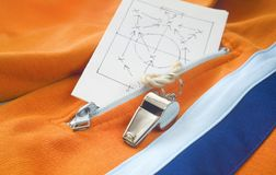 Whistle of a soccer trainer /referee Stock Photography