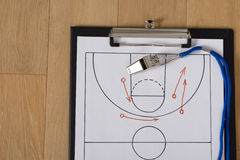Whistle And Sport Tactics On Paper. Close-up Of Clipboard With Whistle And Sport Tactics On Paper Stock Photography