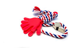 Whistle-striped flag of Thailand with red hand plastic. Royalty Free Stock Image