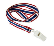Whistle with Thailand national flag lanyard on white background Stock Photos