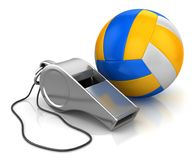 Whistle and volleyball Royalty Free Stock Photography