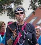 Whistle woman Stock Photo