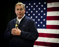 House Speaker John Boehner. Displaying one of his animated facial expressions against flag backdrop during visit to Derry NH. 10-8-12 Derry, New Hampshire Royalty Free Stock Photos
