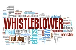 Whistleblower. Company law violation. Moral responsibility concept word cloud Stock Image