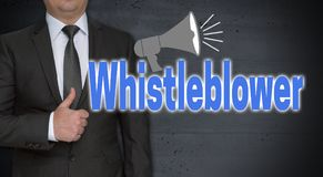 Whistleblower concept and businessman with thumbs up.  stock photo