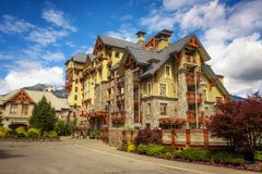 Pan Pacific hotel in Whistler Village, Canada. WHISTLER, BRITISH COLUMBIA, CANADA - JULY 2, 2017 : Pan Pacific, a modern condo style hotel in Whistler Village Royalty Free Stock Photos