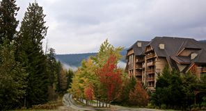Whistler Canada autumn. Rainy autumn day in Whistler Canada with beautiful colorful royalty free stock photo