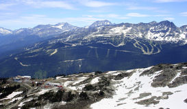 Whistler mountain, Canada. View of Olympic ski runs, from Mount Whistler in the Canadian Rockies, Canada Stock Photo