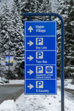 Whistler parking sign. Directions to parking in Whistler Royalty Free Stock Images