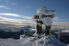 Whistler peak with the Black Tusk peak Royalty Free Stock Photography