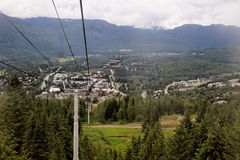 Whistler Village. The Whistler Village in British Columbia Canada as seen from the ski lift climbing the mountain in the middle of pine trees and snow peak Stock Photography