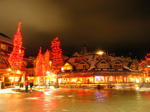 Whistler Village. A long exposure nighttime photo of Whistler Village in British Columbia,Canada Royalty Free Stock Photo