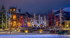 Whistler Village Olympic Plaza. Whistler Village's Olympic Plaza in winter at twilight Royalty Free Stock Photo