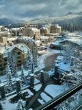 Whistler Village in winter. Ski resort at  Olympic Village. Whistler. British Columbia. Canada Stock Photo