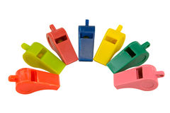 Whistles. Isolated on white, clipping path included Stock Photos