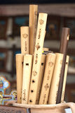 Whistles. Lot of handmade whistles  decorated with romanian ornaments Royalty Free Stock Photo