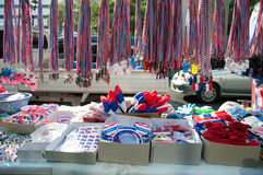 Whistles and national flag tri-coloured ribbons. BANGKOK THAILAND - FEBRUARY 2 : Whistles and national flag tri-coloured ribbons, Tools and/or souvenirs of royalty free stock photo